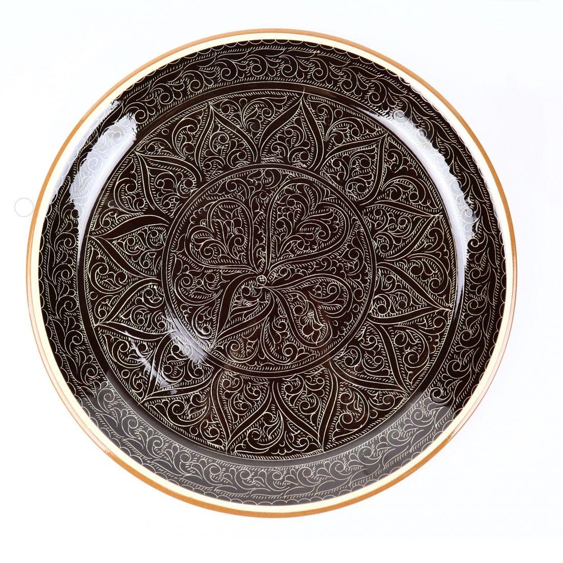 Ляган узбекский, Риштан, коричневый, d 380 мм, ручная работа