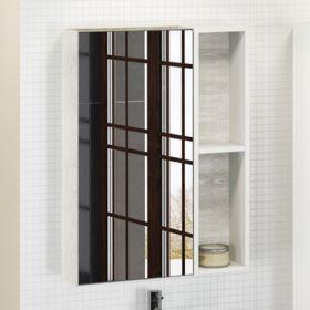 Зеркало-шкаф Comforty Прага-60 дуб белый