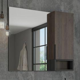 Зеркало-шкаф Comforty Франкфурт-90 дуб шоколадно-коричневый