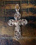 Позолоченный ажурный крестик с имтацией алмазной гравировки (арт. 880224)