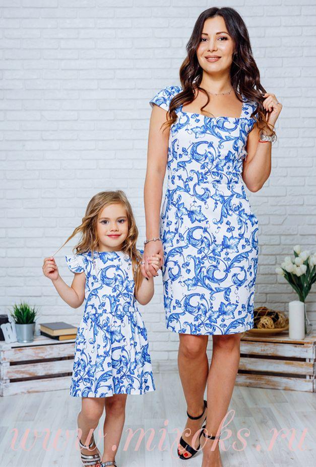 Платья летние Гжель для мамы и дочки