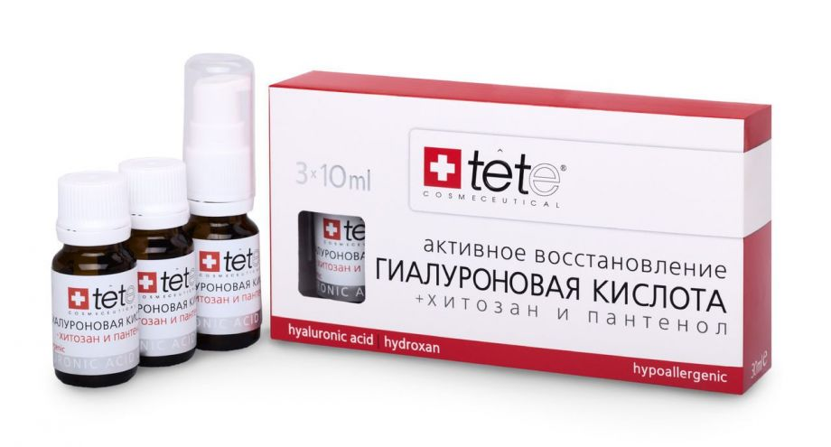 Гиалуроновая кислота с хитозаном и пантенолом Tete cosmeceutical (Тете косметик) 3*10 мл