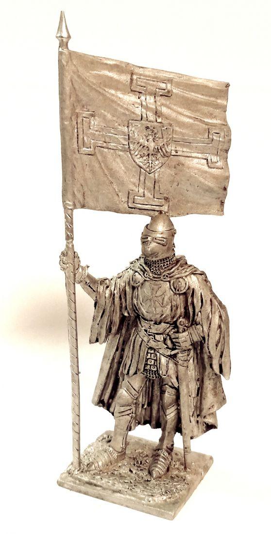 Фигурка Тевтонский рыцарь со знаменем Ордена 1400г. олово