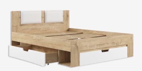 Кровать Марли МКР1600.1 (Белый глянец/Дуб бунратти)