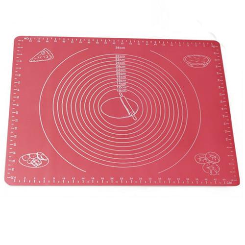 Силиконовый коврик для раскатывания теста, 65х45 см, цвет - красный.