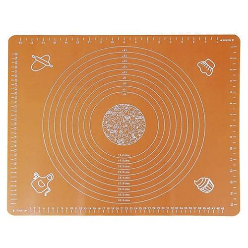 Силиконовый коврик для раскатывания теста, 65х45 см, цвет - оранжевый.