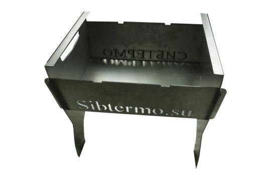 Мангал Сибтермо с упором коптильни с чехлом кочергой и решеткой 350*320*30 сталь 2мм