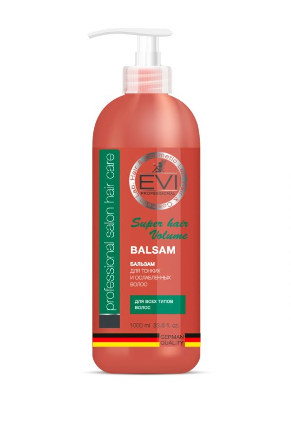 Бальзам-ополаскиватель «Объем и сила» для тонких и ослабленных волос, 1000 мл. «EVI»