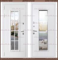 Входная дверь Агора 2200 х 960 Белая со стекло-пакетом :