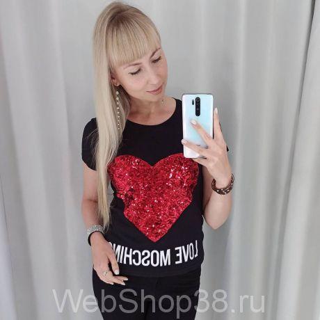 Черная хлопковая футболка Love Moschino