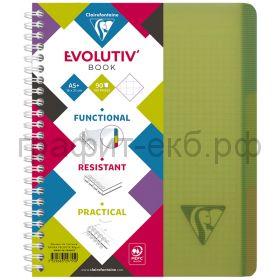 Тетрадь А5+ 90л.кл.Clairefontaine EvolutivBook пластик.обложка зеленая 329755C_green