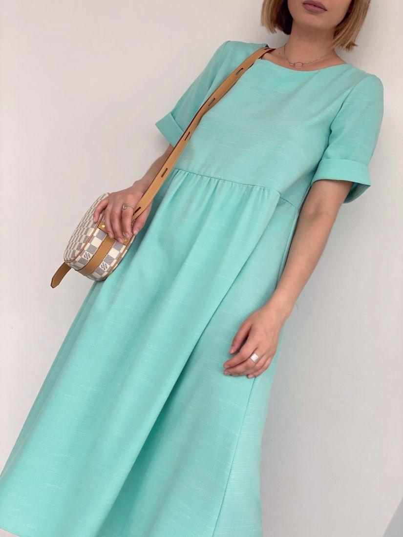 4276 Платье из полульна в цвете carribean