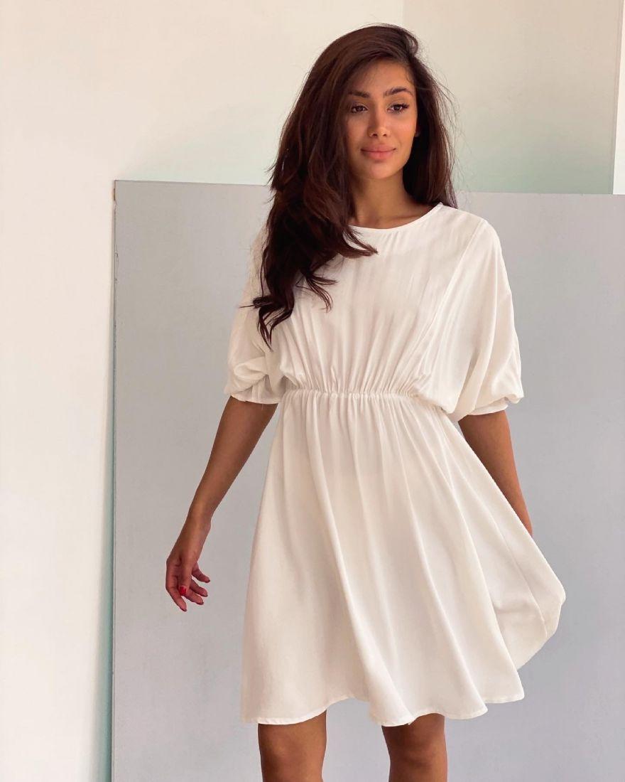 4294 Платье с акцентом на талии белое