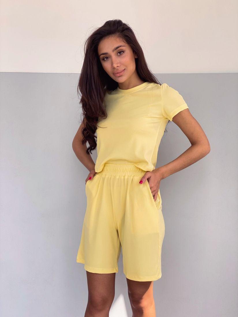 4295 Костюм с шортами трикотажный лимонный