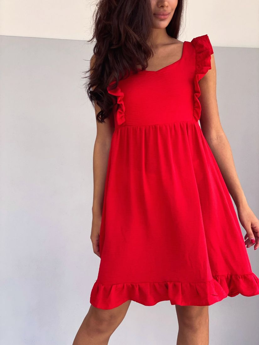 4299 Платье красное в стиле babydoll