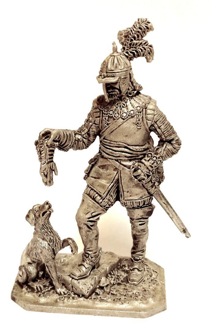 Фигурка Германский кавалерист с собакой 1650г  олово
