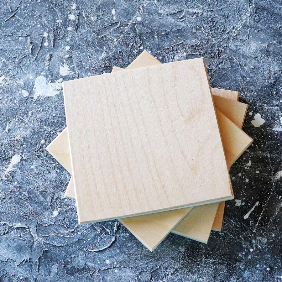Заготовка для декупажа Плитка из фанеры 10*10 см