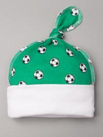 00-0021423  Шапка трикотажная с отворотом, узелок, мячики, зеленый