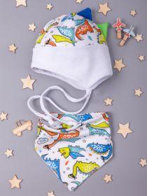 00-0018325  Шапка трикотажная для мальчика на завязках с отворотом, цветные динозаврики + снуд, белый