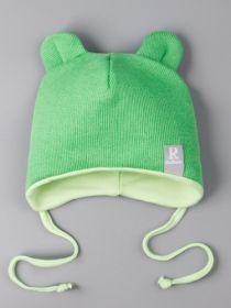 00-0022260  Шапка трикотажная для мальчика с ушками на завязках, нашивка RusBubon, зеленый