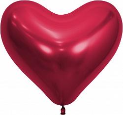Сердце (14''/36 см) Reflex, Зеркальный блеск, Красный , хром, 50 шт.