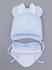 00-0026168  Шапка трикотажная для девочки с ушками на завязках, сверху бант + нагрудник, голубой