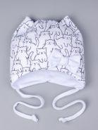 00-0023927  Шапка трикотажная для девочки с ушками на завязках, котята, бантик, белый