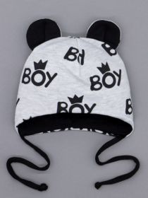 00-0026231  Шапка трикотажная для мальчика с ушками на завязках, BOY, черный