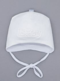 00-0026213  Шапка трикотажная для мальчика на завязках, Baby, молочный