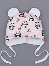 00-0026234  Шапка трикотажная для девочки с ушками на завязках, панда, светло-розовый