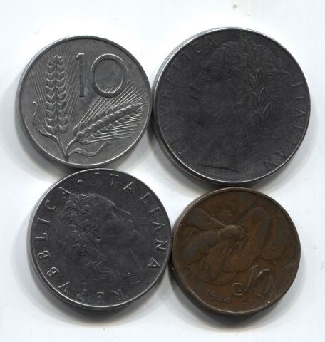 Набор монет Италия 1924-1979 4 шт. НАБ ИТ-002