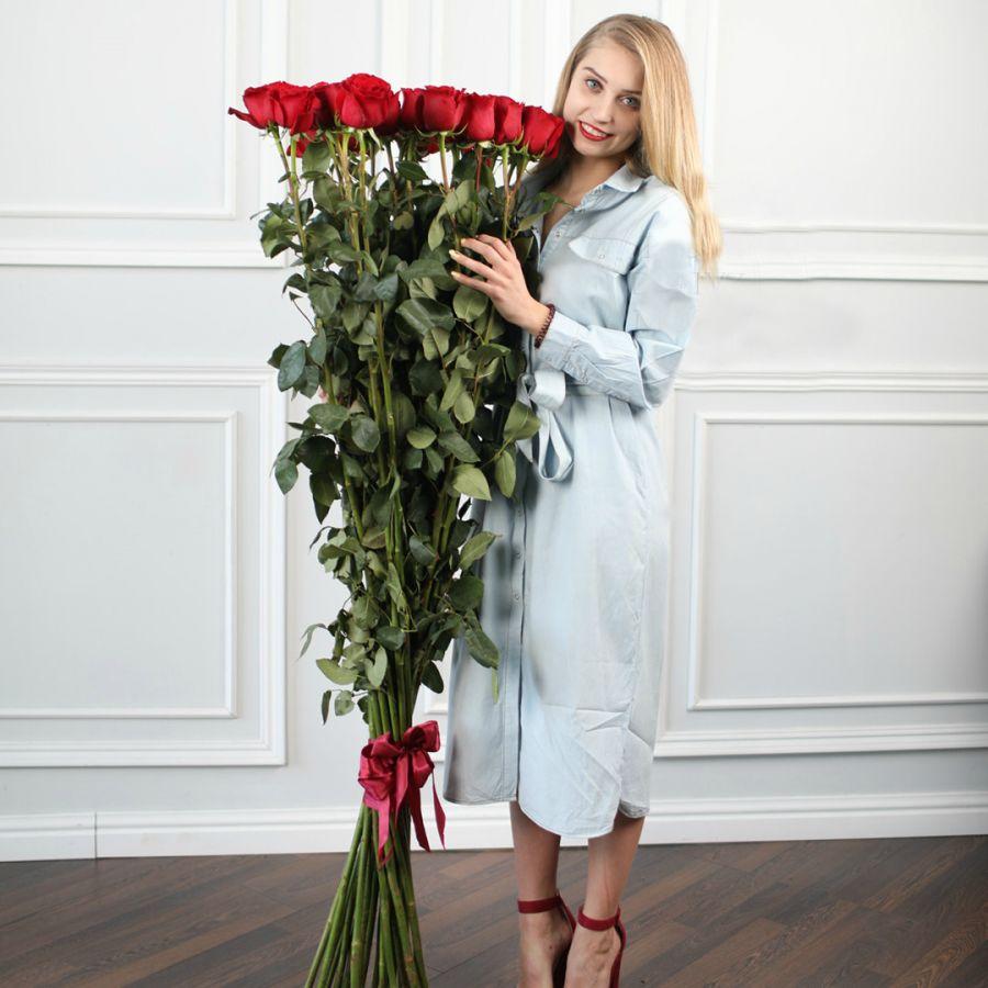 Эксклюзивные красные розы 150см