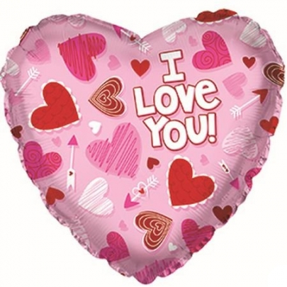 Сердце розовое ILU шар фольгированный с гелием