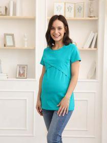 Футболка для беременных и кормящих 06302 изумрудный