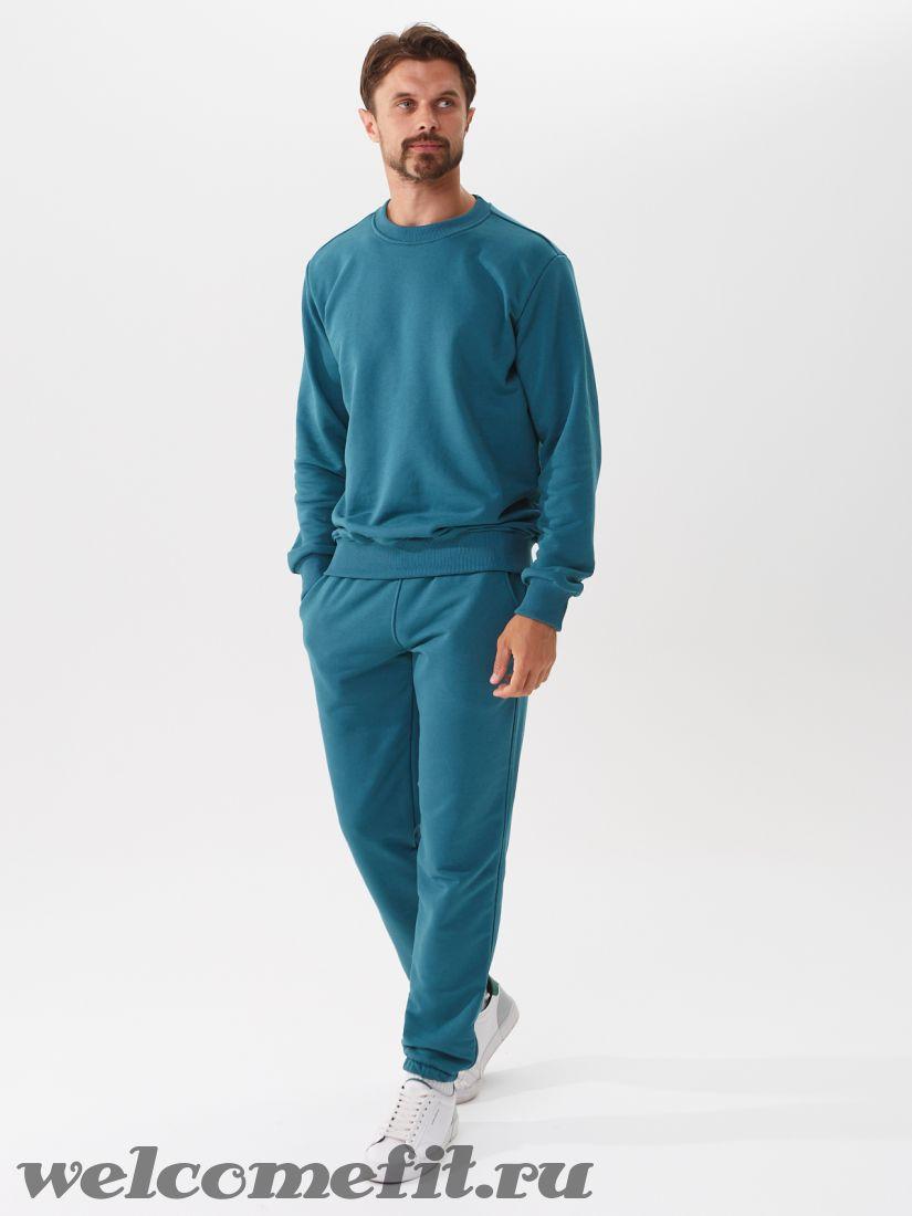 Костюм свитшот и брюки мужской - петроль