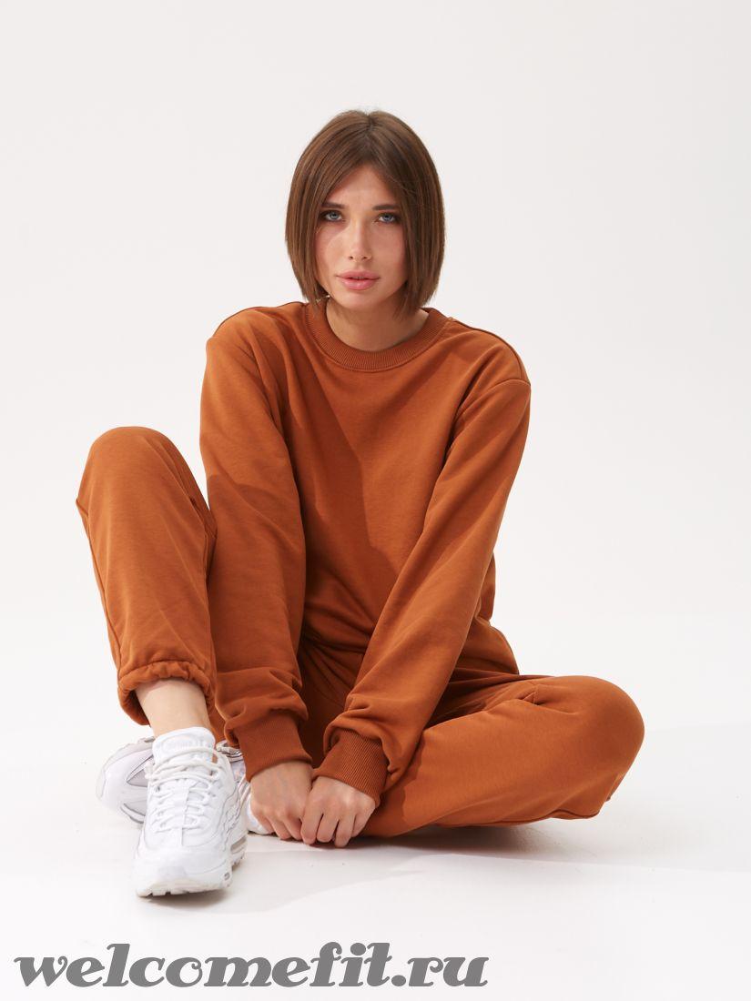Костюм свитшот и брюки женский - карамель