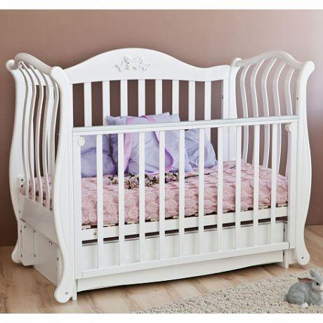 С 757 Кроватка детская Юлиана  резьба №8 накладка №27 (Бабочка)