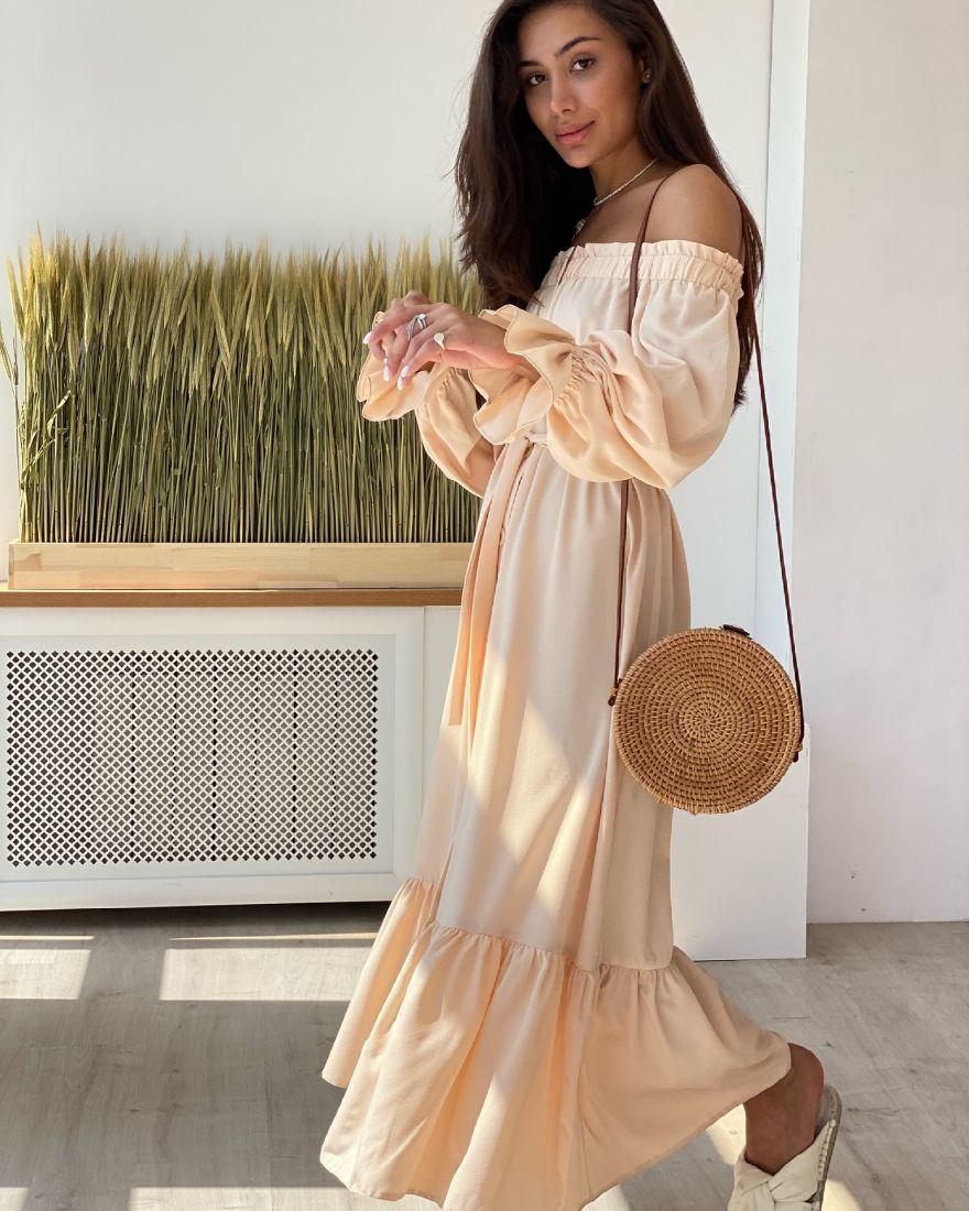 """4347 Платье с открытыми плечами в цвете """"айвори"""""""
