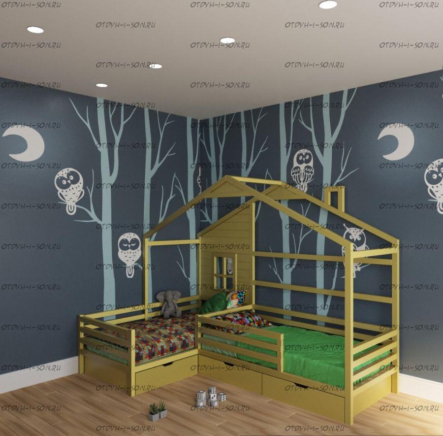 Кровать Домик Угловой Fairy Land (Для Двоих Детей) любые размеры