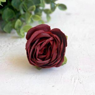 Бутон розы 4,5 см. - тканевый бордовый