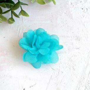 Цветок тканевый воздушный 4,5 см., голубой