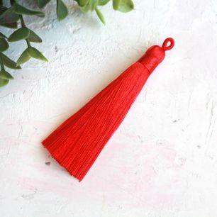Кисточка декоративная, красная 8 см.