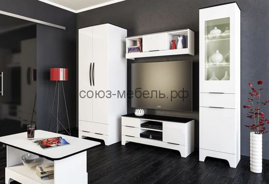 Гостиная Верона (шкаф МН 128-13+тумба МН 128-06+шкаф МН 128-07)