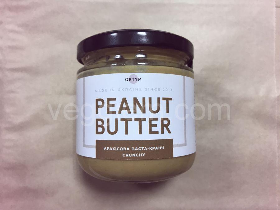 Натуральная арахисовая паста кранч, ORTYM, 180 грамм, стекло