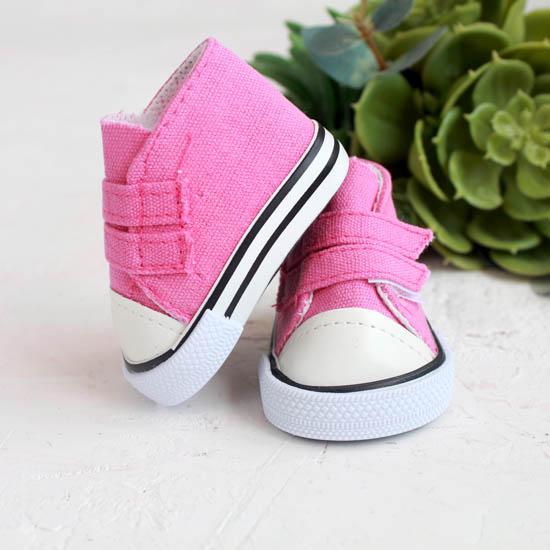Обувь для кукол кеды на липучках 7 см  -  розовые