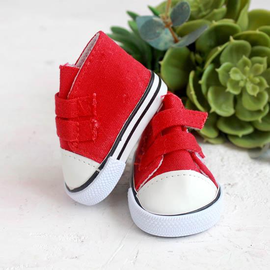 Обувь для кукол кеды на липучках 7 см  -  красные