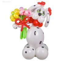 """Фигура из шаров """"Далматинец с цветами"""""""
