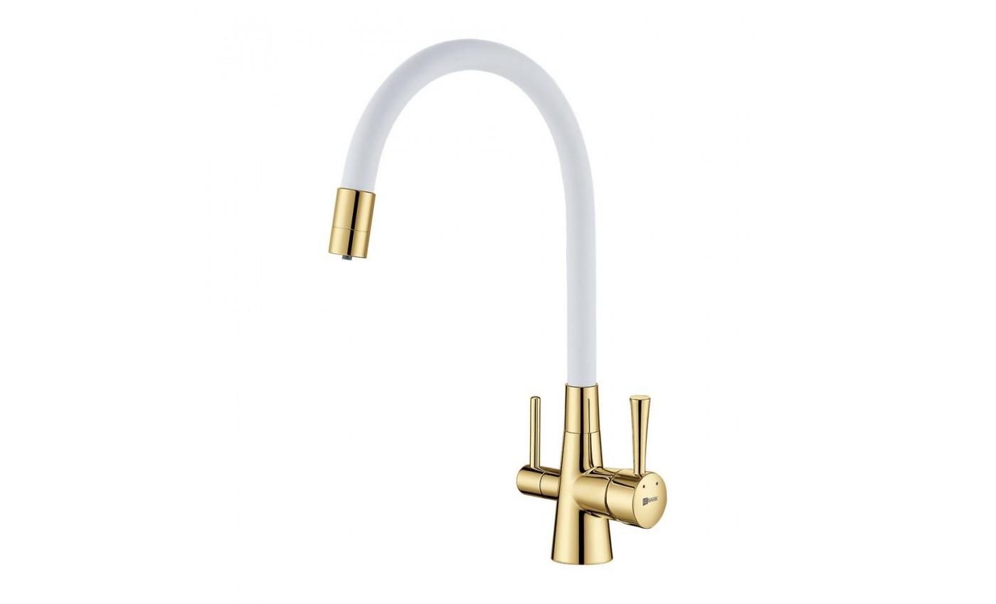 Смес кухня 40мм LEMARK 3075G-White Комфорт с гибким изливом,с подключ к фильтру, золото/белый