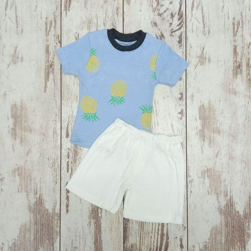 Костюм ананас голубой: футболка, шорты