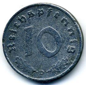 Германия 10 пфеннигов 1940 D